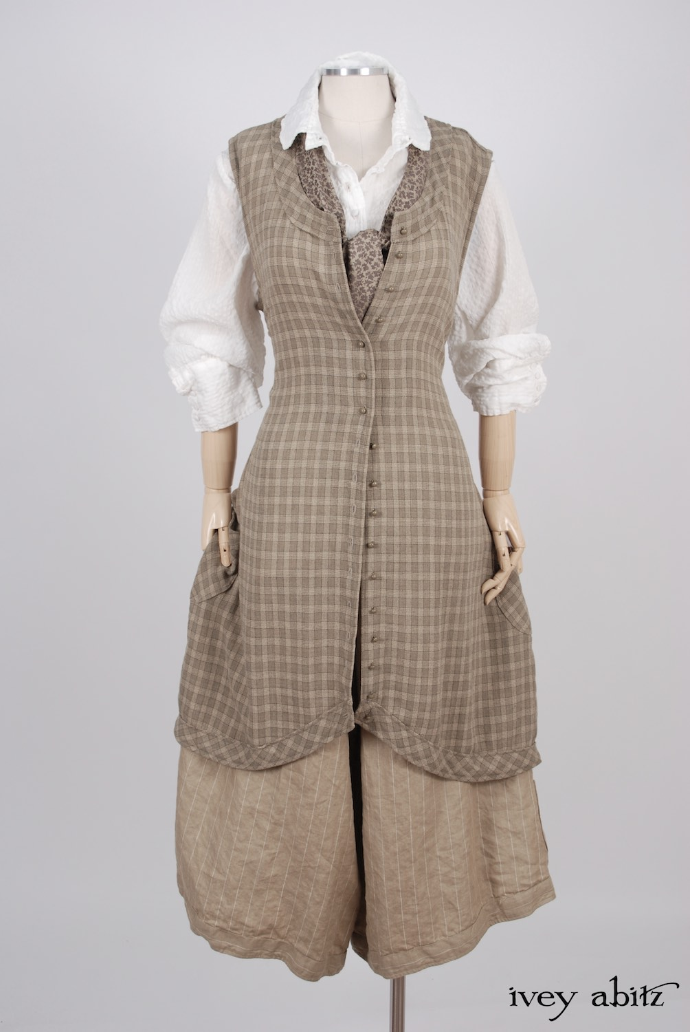 Ivey Abitz - Truitt Shirt in Dove Striped Voile  - Truitt Frock in Flaxseed Plaid Weave  - Holkham Hall Necktie in Flaxseed Leafy Silk Linen  - Montague Trousers in Sandy Pinstriped Linen, High Water Length
