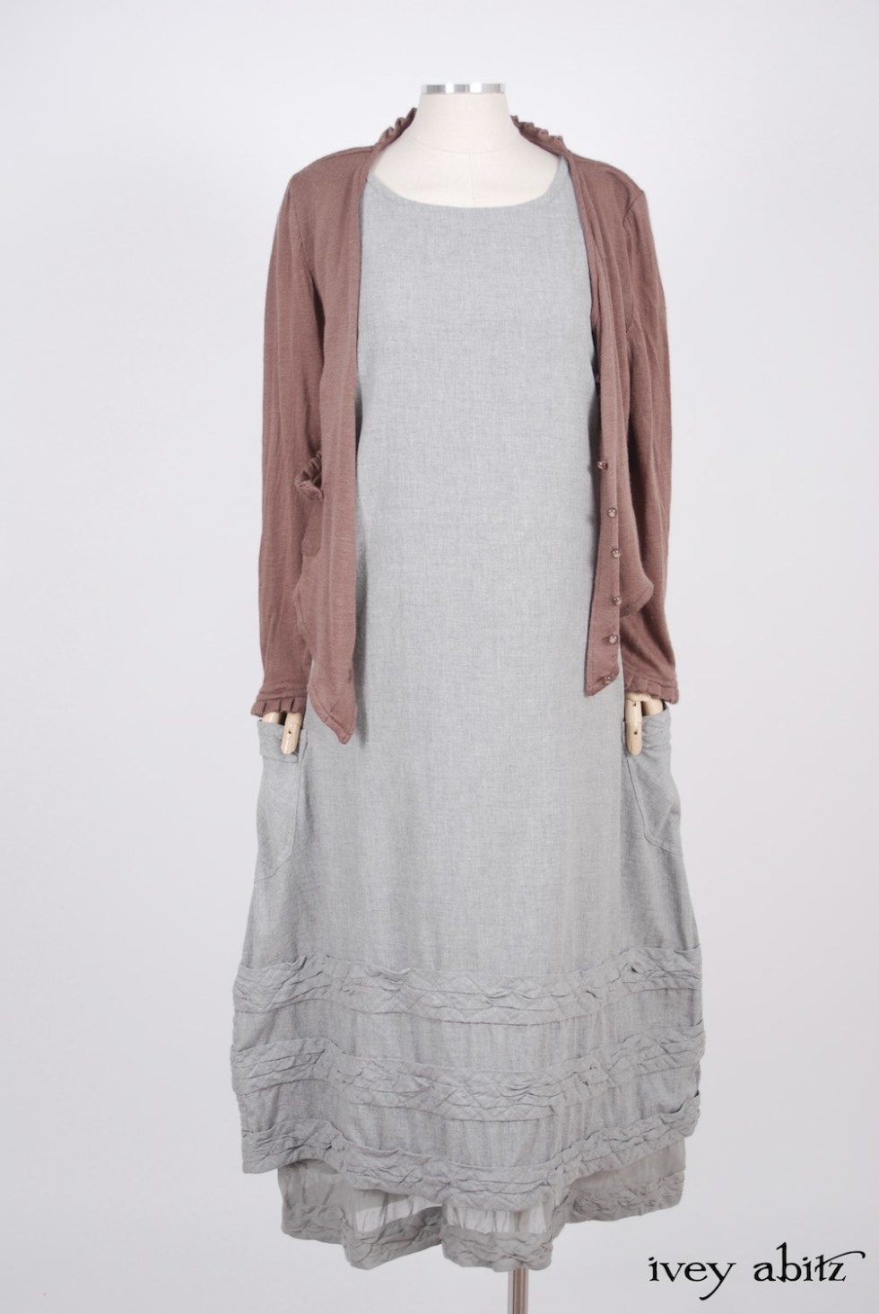 Ivey Abitz - Canterbury Cardigan in Blushed Cashmere Knit  - Tollie Frock in Sparrow Grey Softest Cotton Twill, High Water Length  - Tollie Frock in Sparrow Grey Wispy Silk Voile, Low Water Length