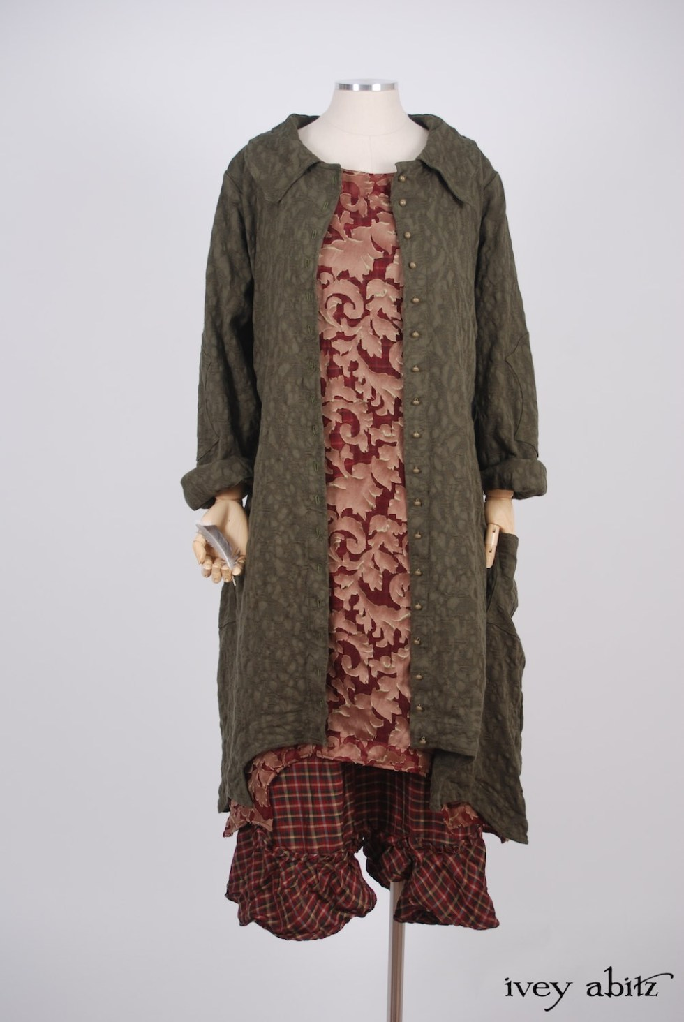 Ivey Abitz - Chittister Duster Coat in Morning Meadow Hemstitch Jacquard  - Chittister Frock in Peony Silk Organza  - Tilbrook Frock in Peony Washed Plaid Silk, High Water Length