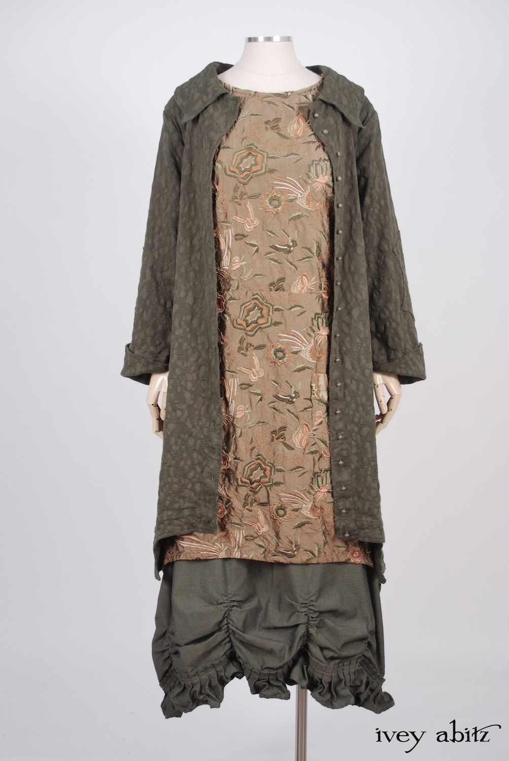 Ivey Abitz - Chittister Duster Coat in Morning Meadow Hemstitch Jacquard  - Dennison Frock in Birdsong Embroidered Silk  - Edenshire Frock in Morning Meadow Yarn Dyed Cotton, Low Water Length