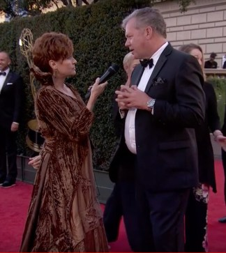 Carolyn Hennesy wears Ivey Abitz on the Emmys red carpet whilst interviewing host of Crime Watch Daily, Chris Hansen