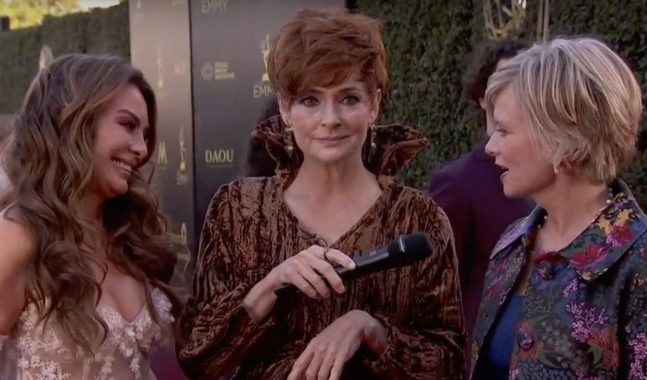 Carolyn Hennesy wears Ivey Abitz on the Emmys red carpet whilst interviewing actors Mary Beth Evans and Lilly Melgar