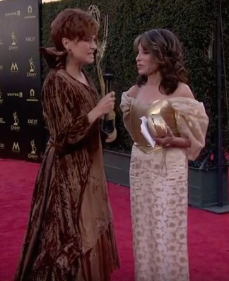 Carolyn Hennesy wears Ivey Abitz on the Emmys red carpet whilst interviewing actress Kate Linder