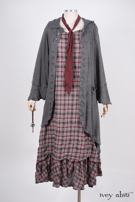 Look 19 - Spring 2018 Ivey Abitz Bespoke - Heraldry Duster Coat in Front Gate Lightweight Linen Knit; Sophia Necktie in Red Door Stained Glass Voile; Heraldry Frock in Red Door Wispy Voile, High Water Length.