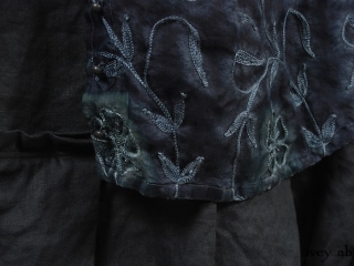 Morningside Duster Coat in Blue Slate Embroidered Silk Organza; Inglenook Frock in Blue Slate Washed Linen, Low Water Length.