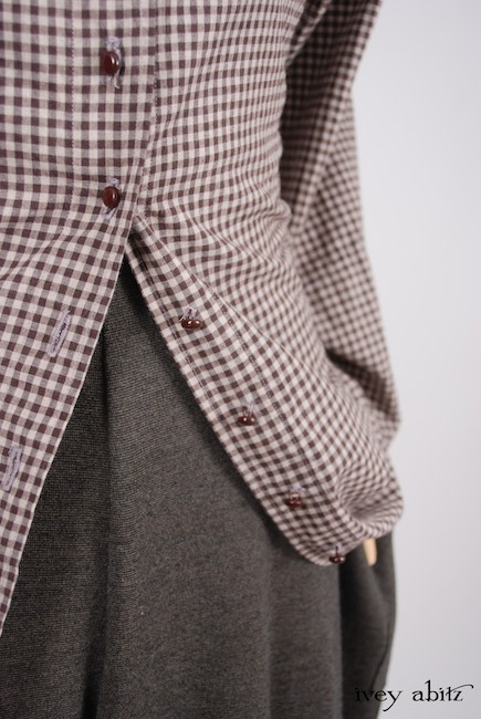 Grasmere Duster Coat in Brownstone Banister Checked Cotton; Coulson Trousers in Brownstone Banister Soft Knit, Low Water Length. Look 39 - Spring 2018 Ivey Abitz Bespoke