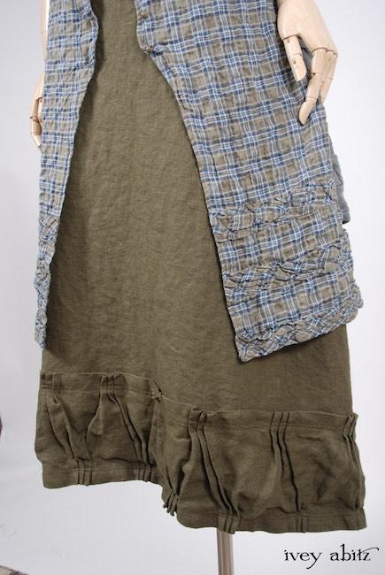 Mewland Jacket in Veranda Blue Lightweight Linen Knit; Bartholomew Frock in Veranda Blue Wispy Plaid; Gabled Skirt in Lawn Washed Linen, High Water Length.