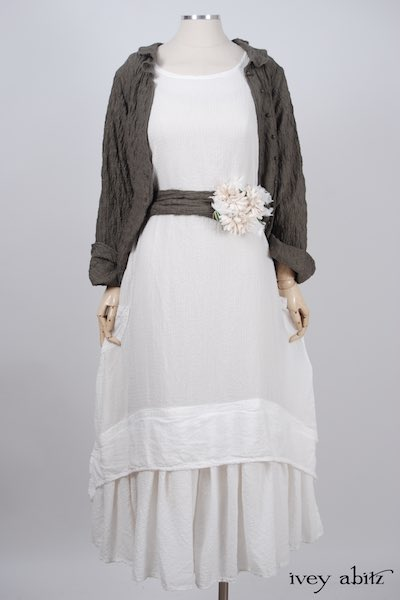 Midsummer Look 21 - Blanchefleur Dress in Dove Striped Voile; Cilla Slip Frock in Signature Cream Washed Silk; Blanchefleur Sash in Garden Green Wispy Puckered Knit by Ivey Abitz