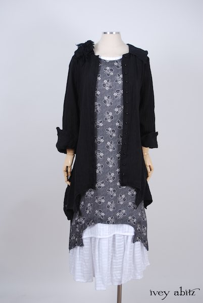Midsummer Look 26 - Blanchefleur Frock in White Embroidered Striped Voile; Chittister Shirt Jacket in Black Washed Gauzy Linen; Bartholdi Brooch in Black Wispy Silk Voile; Chittister Frock in Black Edwardian Floral Silk by Ivey Abitz