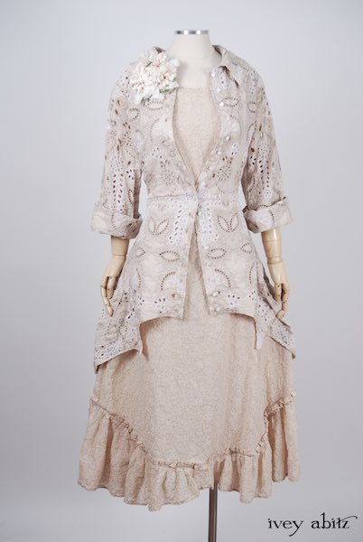 Midsummer Look 27 - Tilbrook Frock in Peach Tea Floral Voile; Limited Edition Chrysanthemum Brooch; Chittister Shirt Jacket in Tea Stained Embroidered Eyelet Voile by Ivey Abitz