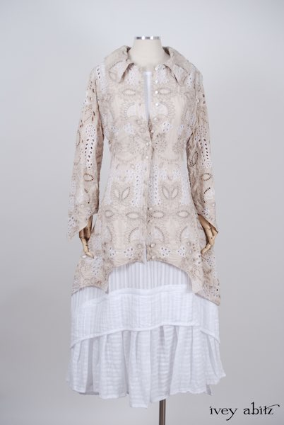 Midsummer Look 4 - Blanchefleur Frock in White Embroidered Striped Voile; Chittister Shirt Jacket in Tea Stained Embroidered Eyelet Voile by Ivey Abitz