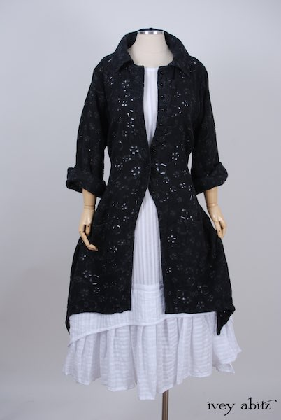 Midsummer Look 8 - Blanchefleur Frock in White Embroidered Striped Voile; Elsie Duster Coat in Black Rustic Eyelet Linen by Ivey Abitz