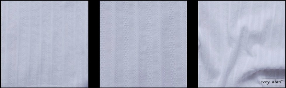 White Embroidered Striped Voile