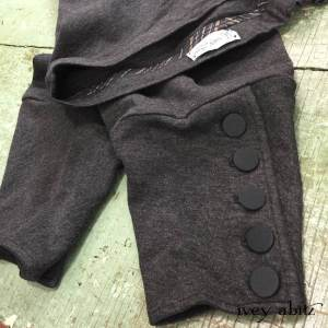 Pierrepont Britches Leggings in Front Gate Ponte Knit with antique Parisian silk woven buttons by Ivey Abitz