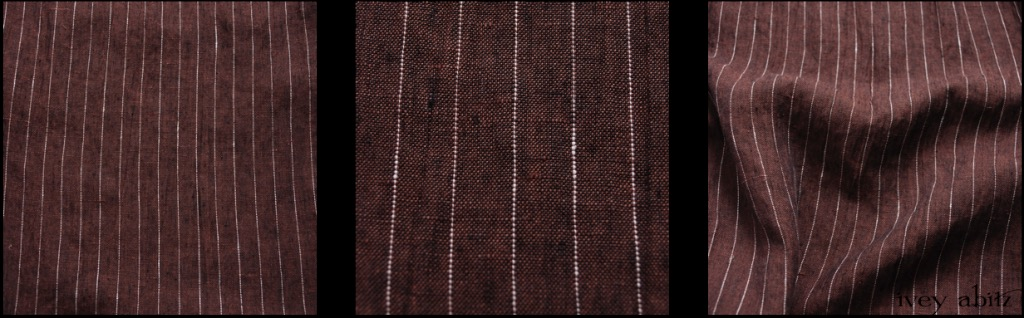Brick Striped Linen - Description: Any IA aficionado knows that we love ambiguous hues. This one fits the bill. Overall, it looks like a deep reddish brown. Look more closely, and you'll find a yarn dyed medley of brown, black, red, and white. The subtle white stripes are a lovely addition to this spring stunner. Opaque yet lightweight, it's a bit more substantive than a handkerchief linen.