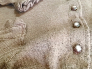 canterbury cardigan in blushed cashmere knit with antique English buttons from the early 1900s by Ivey Abitz