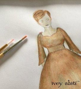 Emmy Dress painting for Carolyn Hennesy, designed by Cynthia Ivey Abitz.