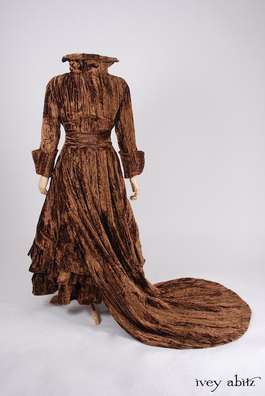 Crinkled silk velvet duster coat made for Carolyn Hennesy red carpet host.