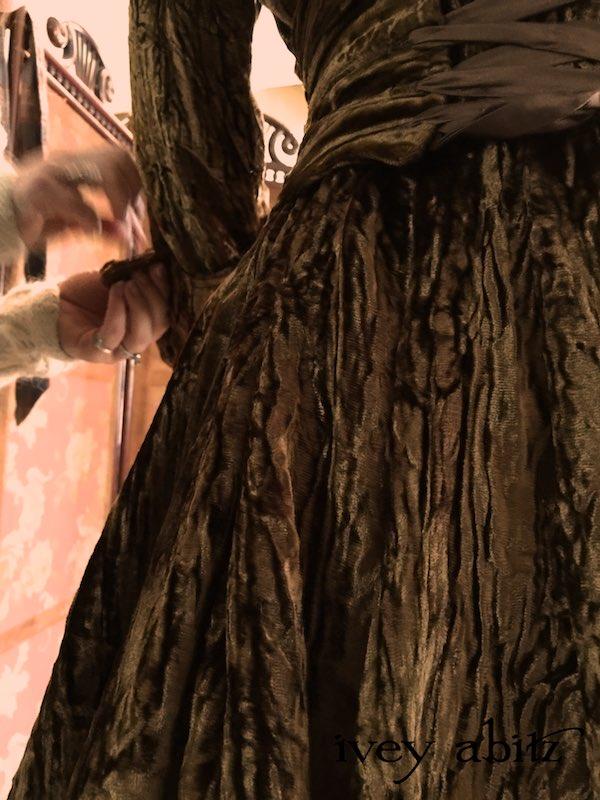 Adjusting cuffs on Emmy Dress for Carolyn Hennesy, designed by Cynthia Ivey Abitz.