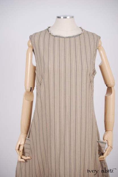 IA101 Trelawny Frock in Antiqued Striped Cotton