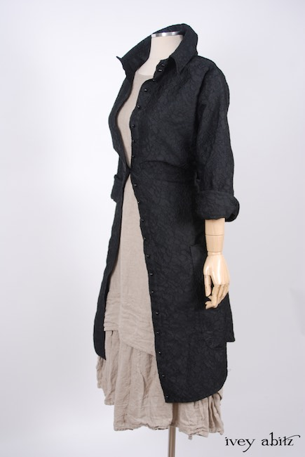 Phinneus Coat Dress in Inkwell Floral Brocade; Blanchefleur Frock in Natural Old World Linen