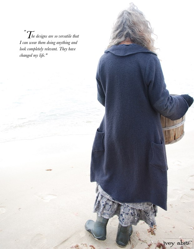 Cindy is wearing her Chittister Duster Coat over her Blanchefleur Frock by Ivey Abitz whilst gathering seaweed for her Saturday Farm garden.
