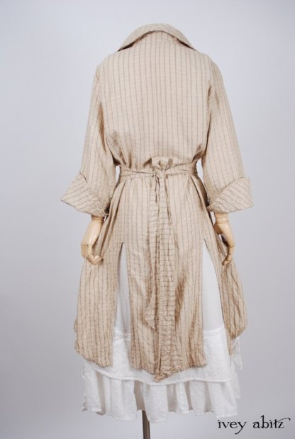 Elsie Duster Coat in Antiqued Embroidered Plaid Silk - Size Medium