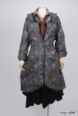 Truitt Duster Coat in Inkwell Cotton Brocade – Size Small/Medium 1