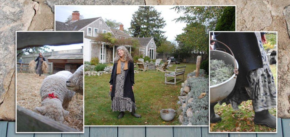 Cindy of Saturday Farm, Cape Cod, wearing her Ivey Abitz bespoke clothing.