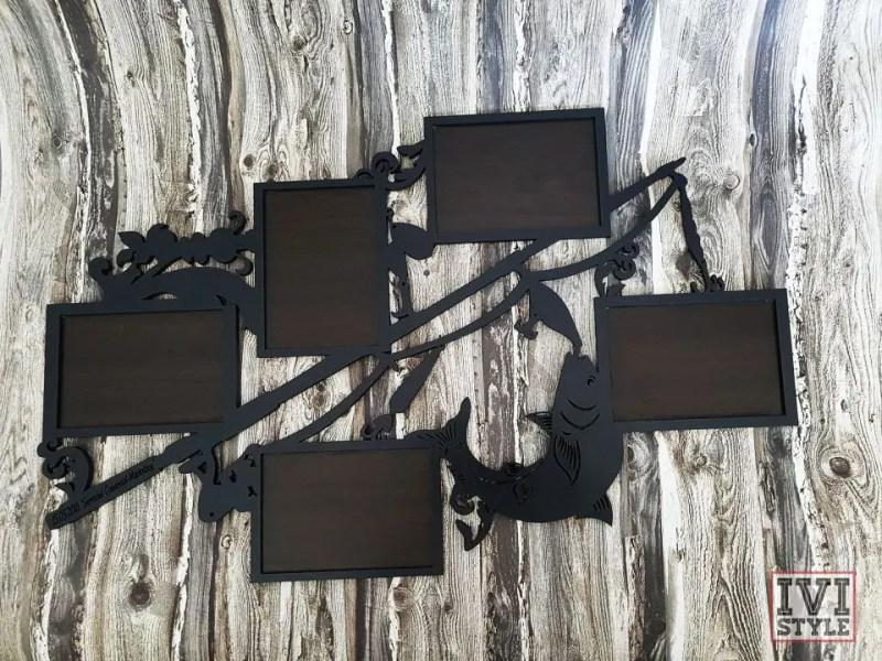 rama foto din lemn cadou pentru pescari
