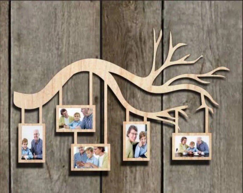 Rama foto din lemn crenguta dreapta cu 5 poze