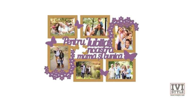 Rama foto personalizata Pentru iubita noastra mama si bunica bait deschis + mov inchis