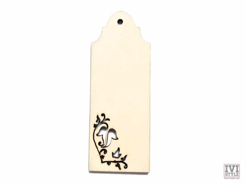 semn de carte blank lemn flori 02