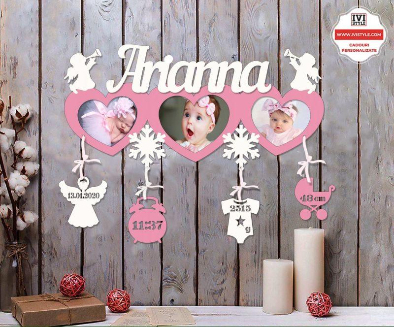 Rama Foto Personalizata Bebelusi 27 roz cu alb