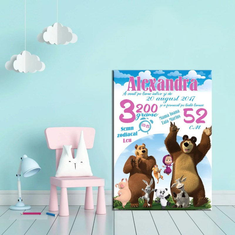 Tablou Canvas Personalizat Masha si Ursul