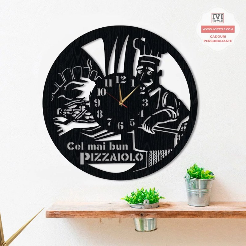 ceas personalizat pizzaiolo lemn