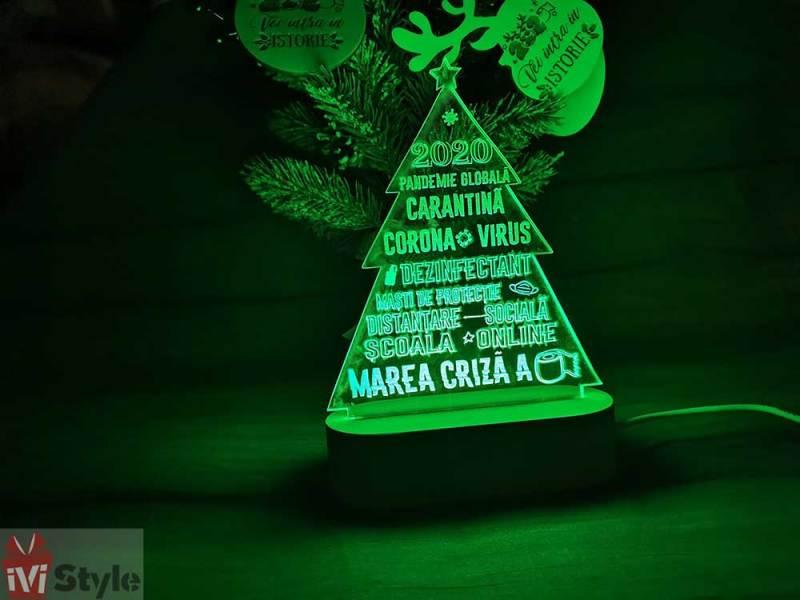 Lampa LED cu Baza de Lemn Bradut 2020 Covid verde