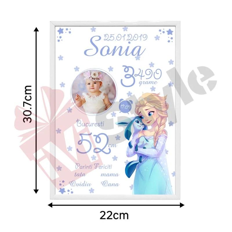 Tablou Personalizat Frozen Elsa cu Poza 01
