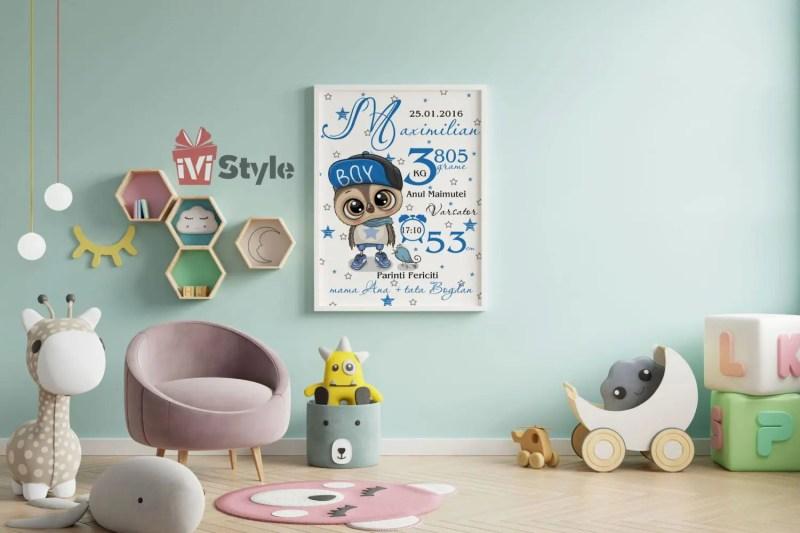 Tablou Personalizat Pentru Copii Bufnita Albastra