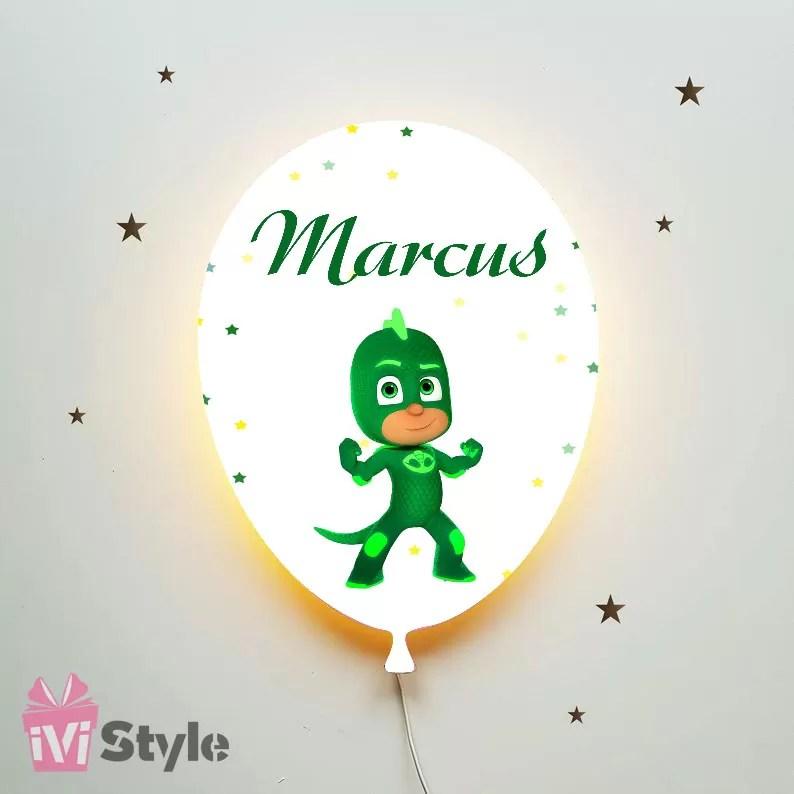 Lampa Personalizata LED Balon Eroi In Pijama Sopi Cel Verde Marcus