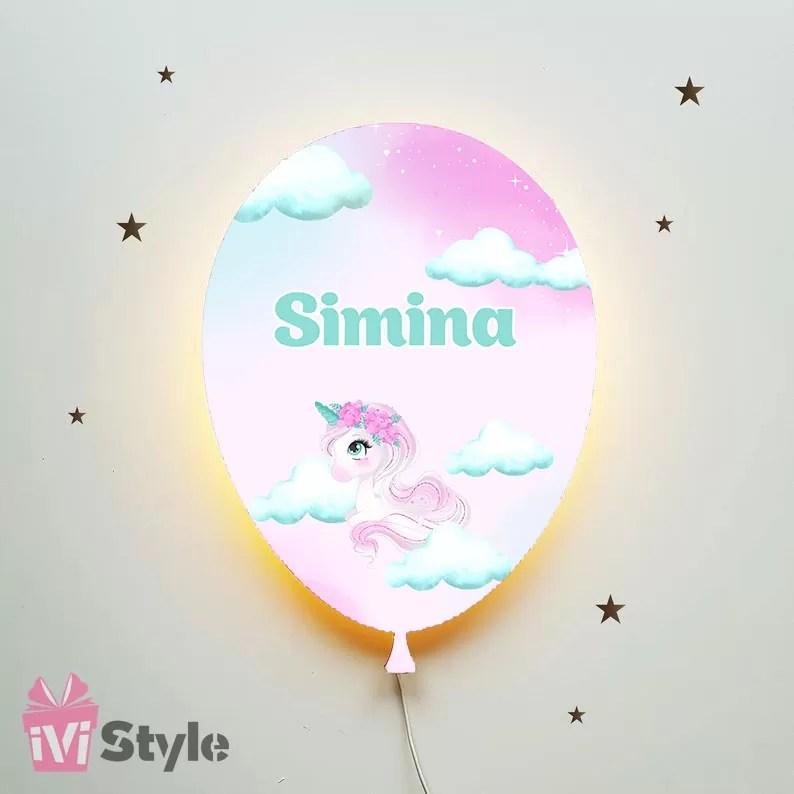 Lampa Personalizata LED Balon Unicorn Simina