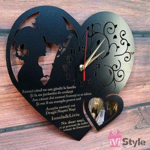 Ceas Pentru Nasi Inima cu Poza Gravat Personalizat
