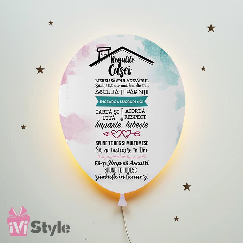 Lampa Personalizata LED Balon Regulile Casei