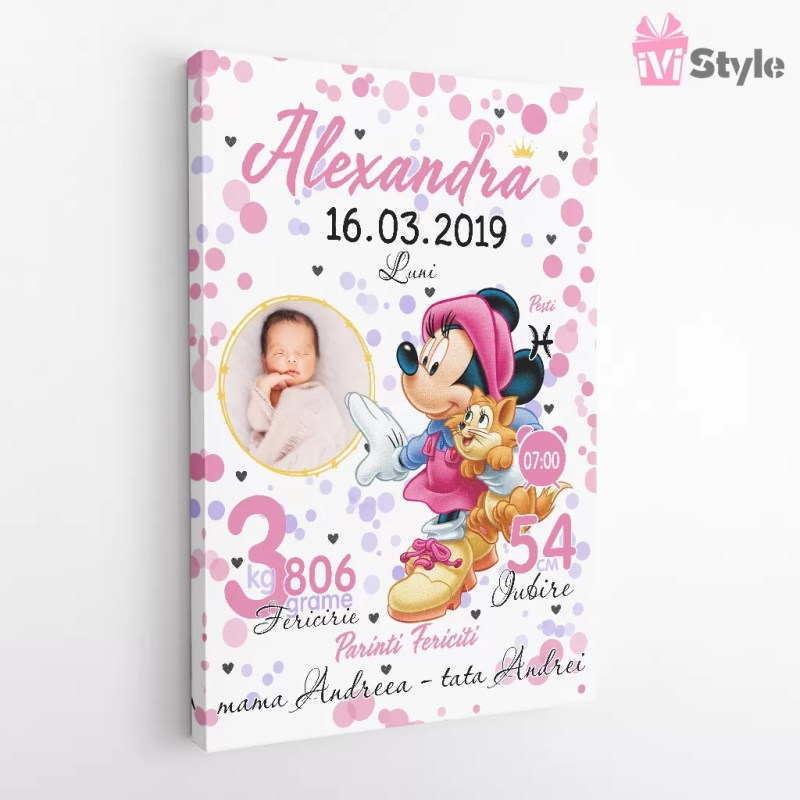 Tablou Personalizat Canvas Minnie Pentru Fetite Alexandra v2