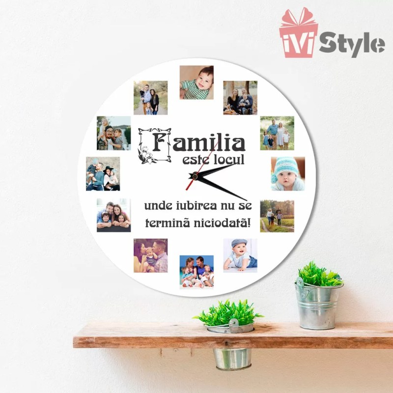 Ceas personalizat cu poze familia este locul