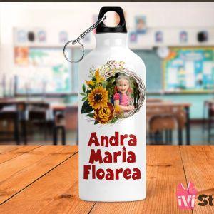 Sticla de Apa Personalizata Pentru Copii Flori de Toamna