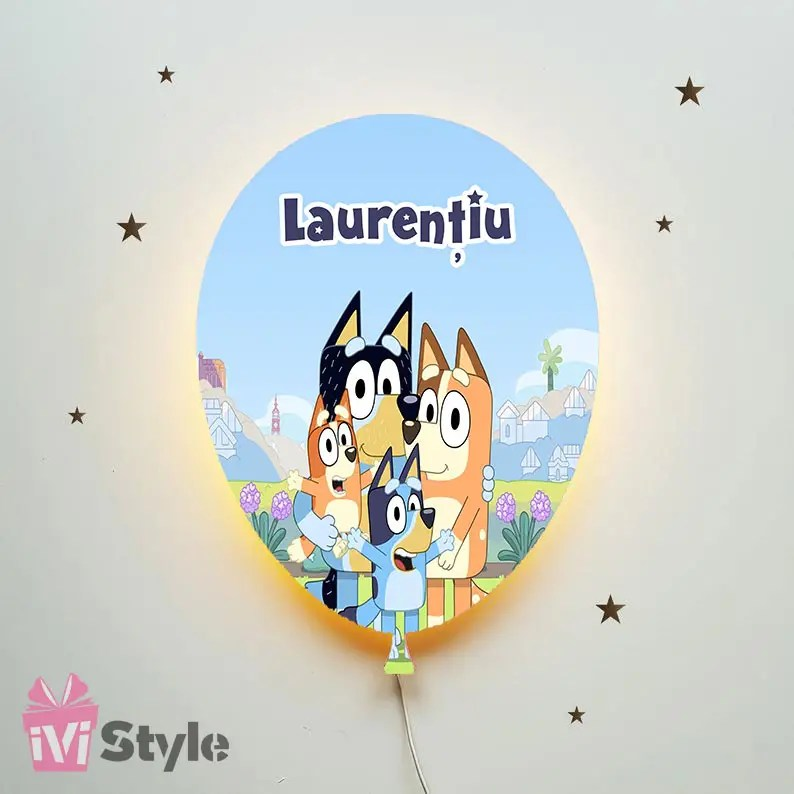 Lampa Personalizata LED Balon Bingo Bluey