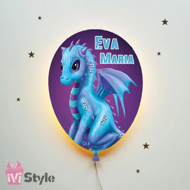 Lampa Personalizata LED Balon Dragon Albastru