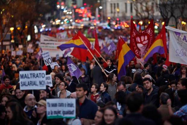 Girls take part in a Women's Day march in Madrid