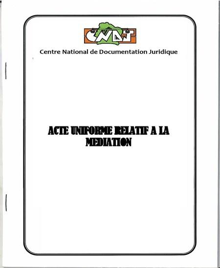 Acte Uniforme relatif à la médiation
